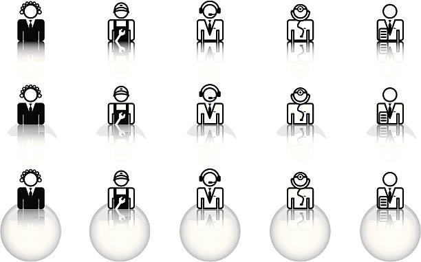 ilustraciones, imágenes clip art, dibujos animados e iconos de stock de sitio web iconos – ocupaciones & a internet de alta velocidad - gerente de cuentas