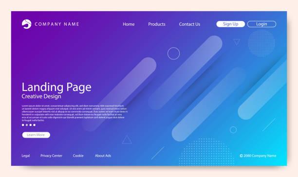 webseite, die zielseite, abstrakten hintergrund, gradient muster und modernen stil - webdesigner grafiken stock-grafiken, -clipart, -cartoons und -symbole