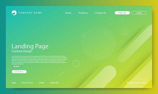 Website Landing Page, Abstract Background, Gradient Pattern and Modern Style