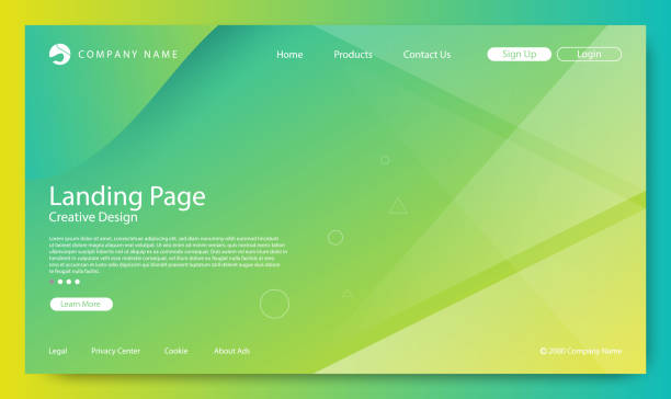 Website Landing Page, Abstract Background, Gradient Pattern and Modern Style Abstract Background with Gradient Texture is A Cool Design. This Use is Usually for Multimedia and Publishing Industry. good condition stock illustrations