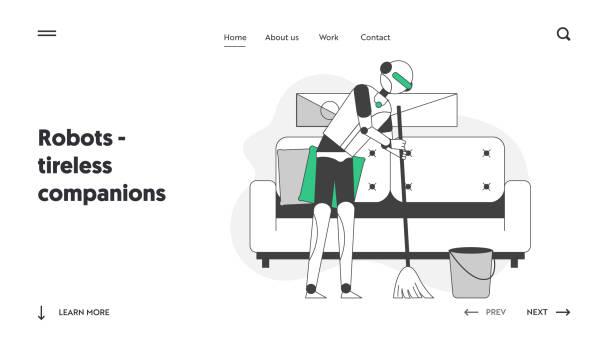 ウェブサイトのランディングページ。サイボーグクリーナースイープフロア。家事や家事を手伝うアイ。主婦のための電子部品のウェブページバナー。漫画フラットベクトルイラスト, 線画 - 妻点のイラスト素材/クリップアート素材/マンガ素材/アイコン素材