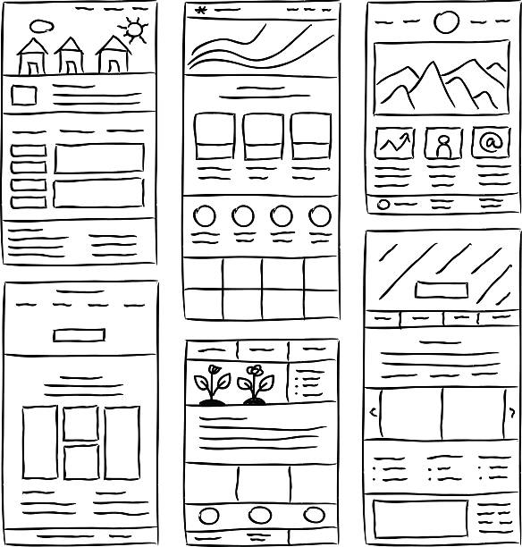 Website Layout Doodles Hand drawn website layouts. doodle style design website wireframe stock illustrations