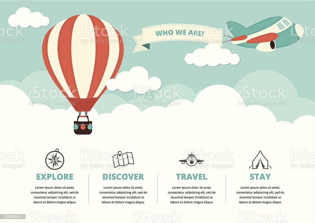 Website Layout with Travel Icons vector art illustration