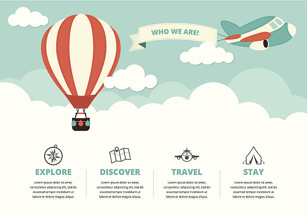 Website Layout with Travel Icons Website layout with a hot air balloon, a plane and travel icons hot air balloon stock illustrations