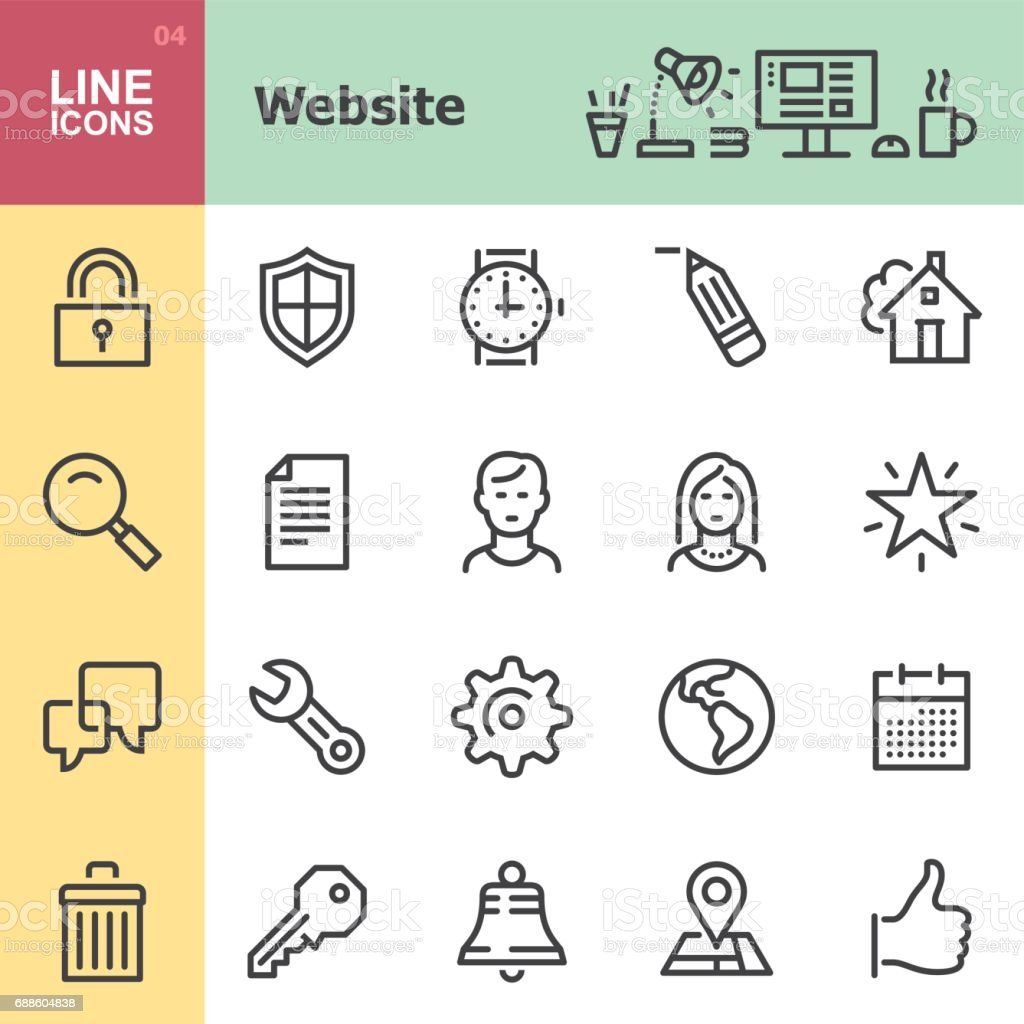 Website Line icons vector art illustration