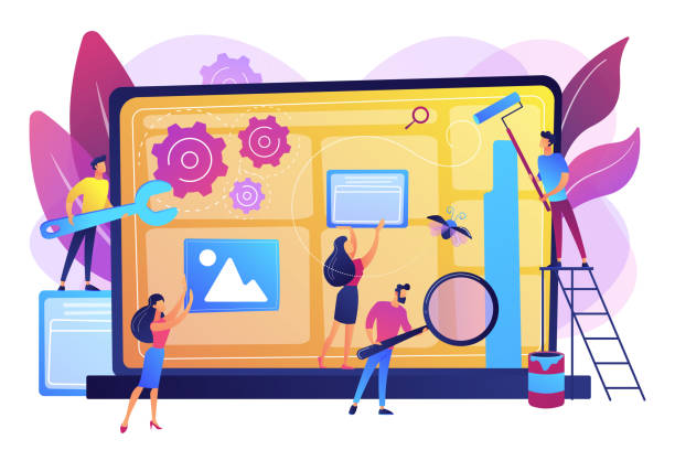 Website maintenance concept vector illustration Technical support, programming and coding. Website maintenance, website maintenance services, update and keep your site easy concept. Bright vibrant violet vector isolated illustration software update stock illustrations