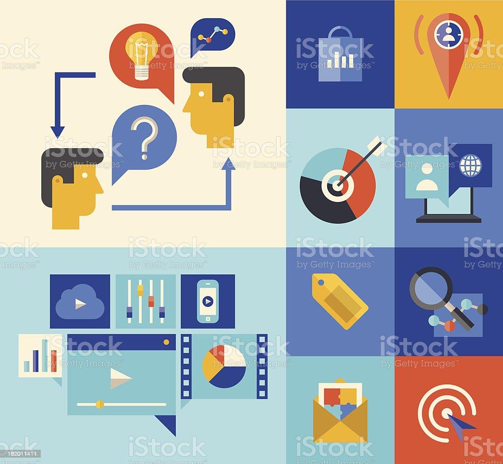 Website marketing and brainstorming symbols royalty-free stock vector art