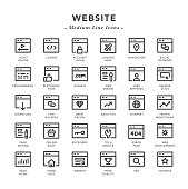 Website - Medium Line Icons - Vector EPS 10 File, Pixel Perfect 30 Icons.