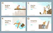Template of Website of construction company with vector illustrations