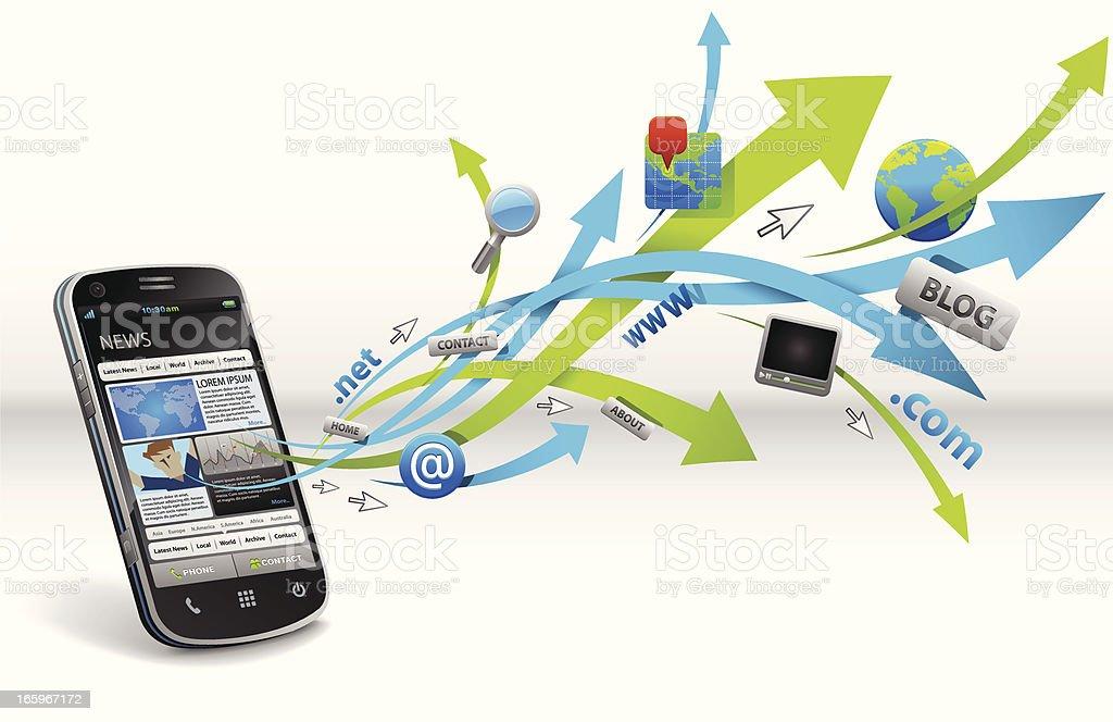 Website on Smart Phone royalty-free stock vector art