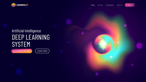 Sitio web o página de inicio de aplicaciones móviles con la ilustración de la página de engaño colorido para el concepto de aprendizaje profundo. - ilustración de arte vectorial