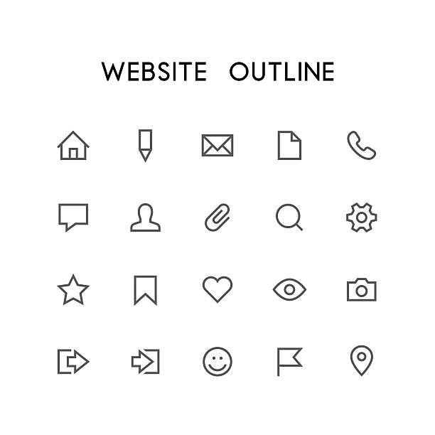 website outline icon set - 종이 클립 stock illustrations