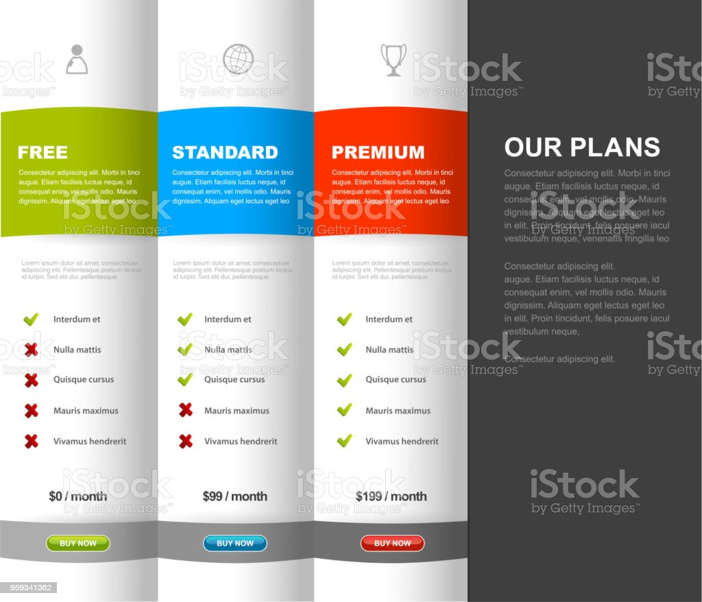 Website product pricing comparison table template with 3 options. vector art illustration