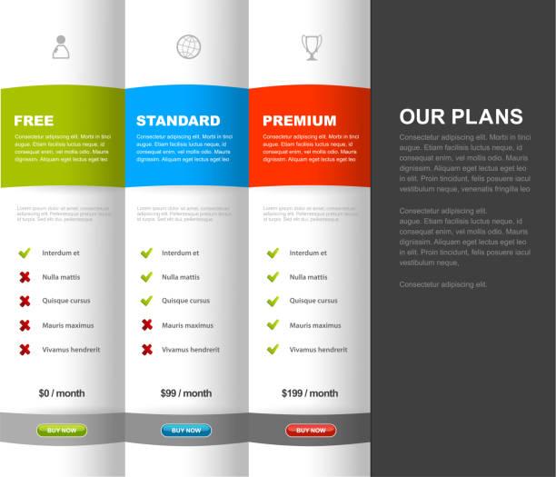 Produit de site Web modèle de table de comparaison avec 3 options de prix. - Illustration vectorielle