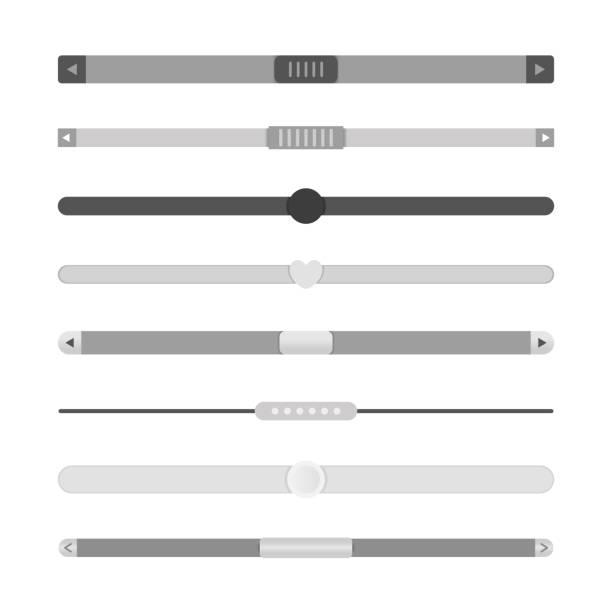 Website scrollbars set vector art illustration