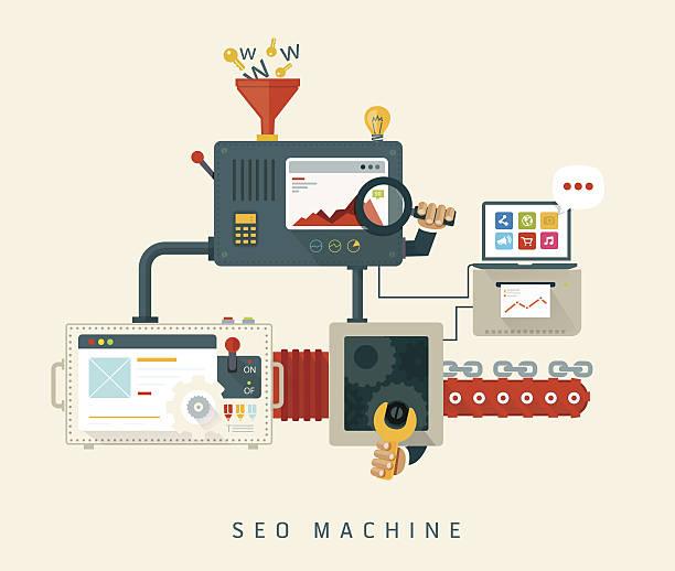 ilustrações, clipart, desenhos animados e ícones de site máquina de seo, processo de otimização. - mecânico