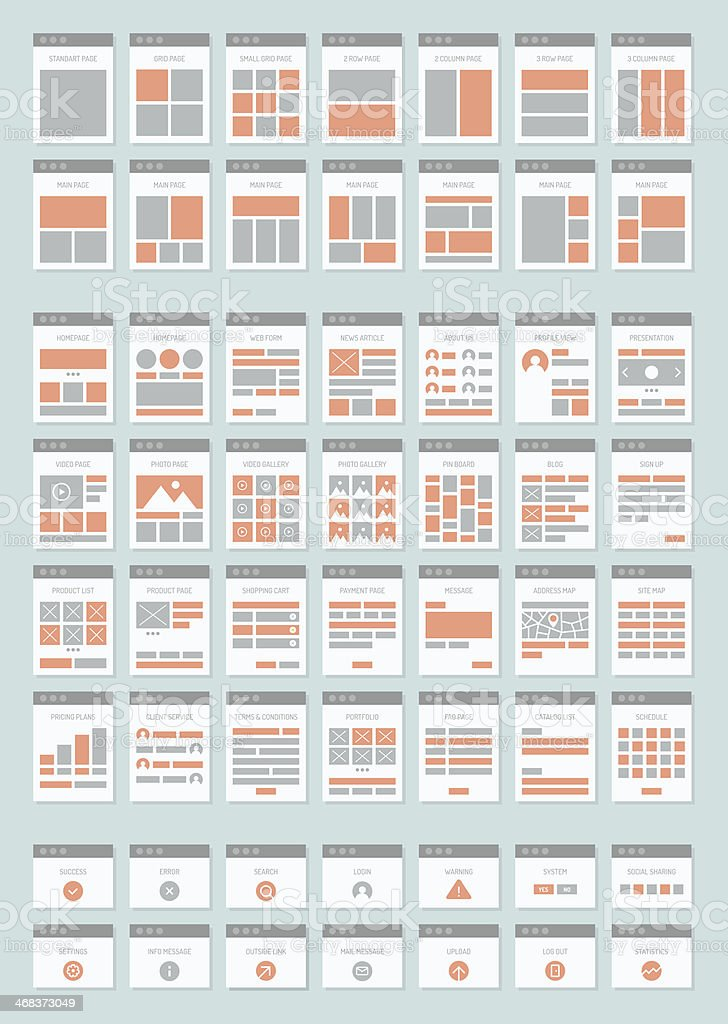 Sitemaps Flache Icons Set Webseite Vektor Illustration 468373049 ...