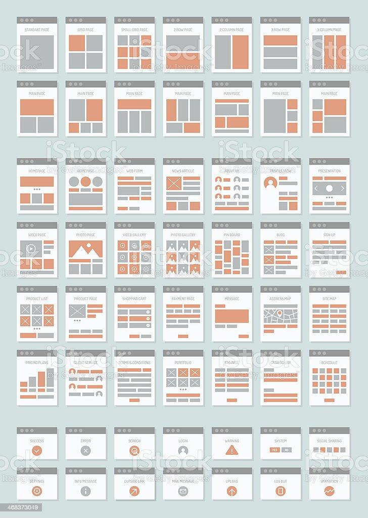 Website sitemaps flat icons set vector art illustration