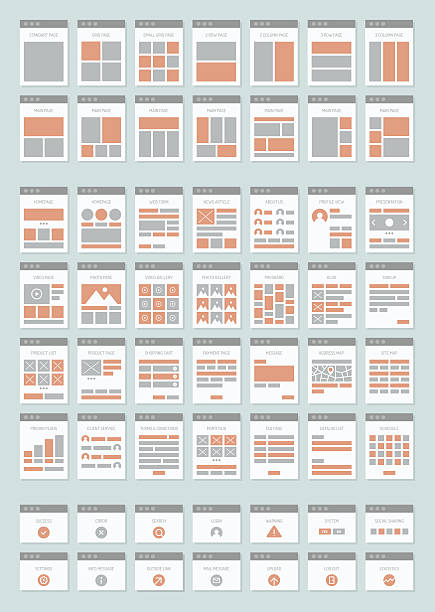 Website sitemaps flat icons set Flat design style modern vector icons set of various website sitemap collection for creating flowchart navigation of web site architecture and prototyping site maps structure and interactions. Isolated on light-gray background website wireframe stock illustrations