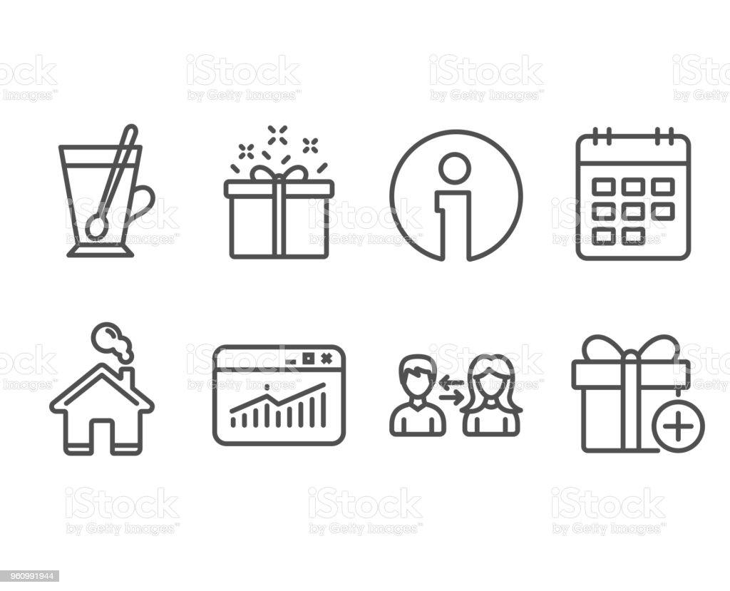Website-Statistiken, Tee-Tasse und spezielle Symbole bieten. Kalender, Menschen Kommunikation und Geschenk Zeichen hinzufügen. - Lizenzfrei Ausverkauf Vektorgrafik