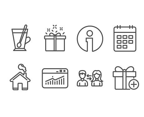 Websitestatistiken Teetasse Und Spezielle Symbole Bieten Kalender Menschen Kommunikation Und Geschenk Zeichen Hinzufügen Stock Vektor Art und mehr Bilder von Ausverkauf