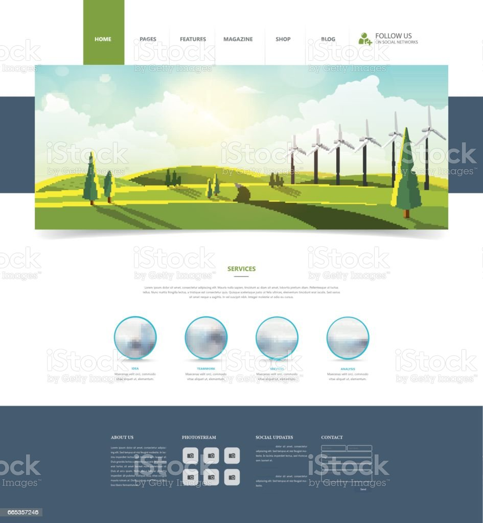 website template and landscape header with wind turbines stock