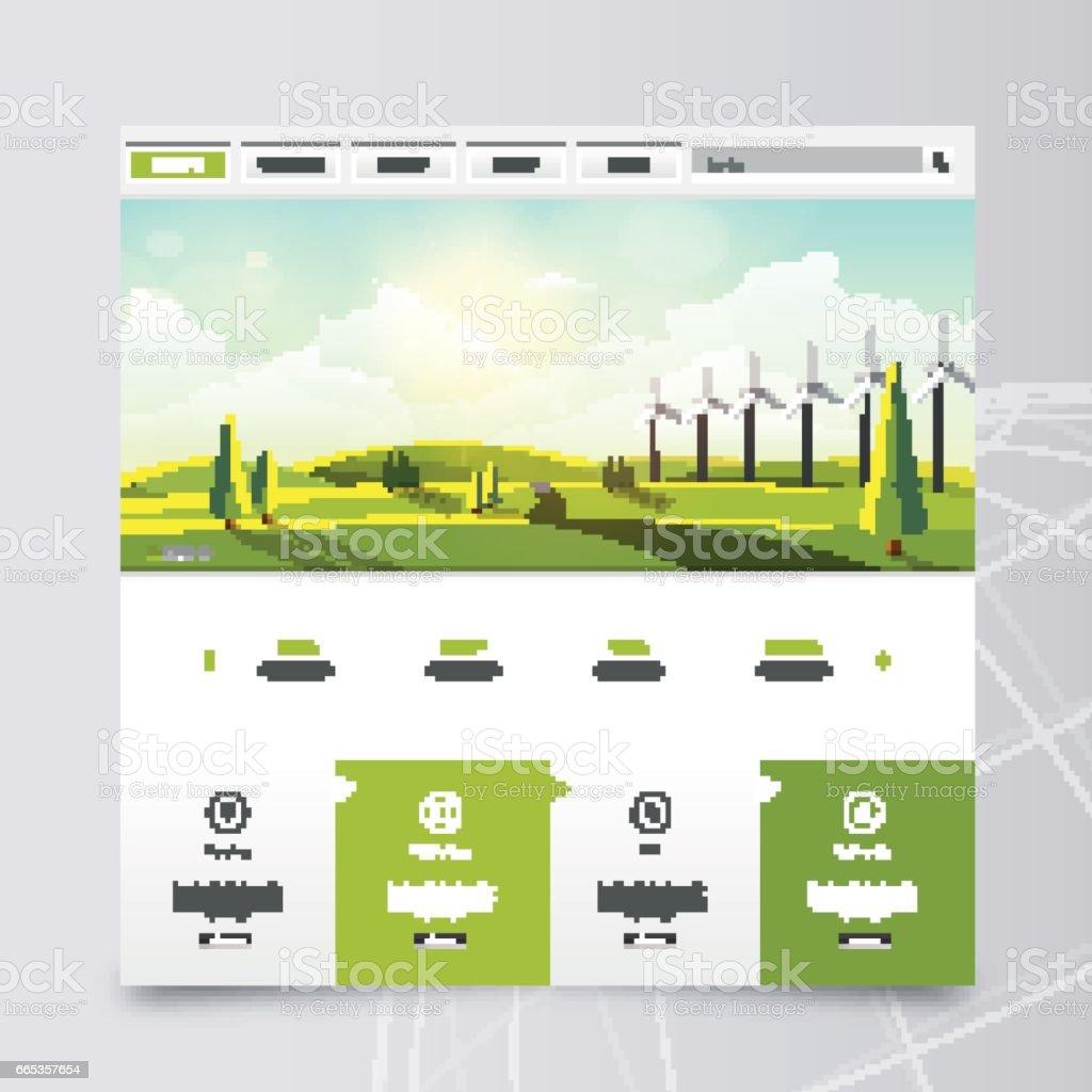 Ilustración de Plantilla De Sitio Web Y Paisaje Encabezado Con ...
