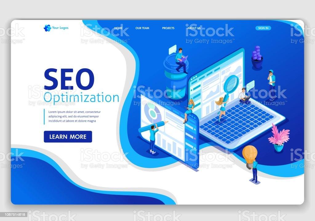 Website Template Design Seo Analytics Landing Page Isometric