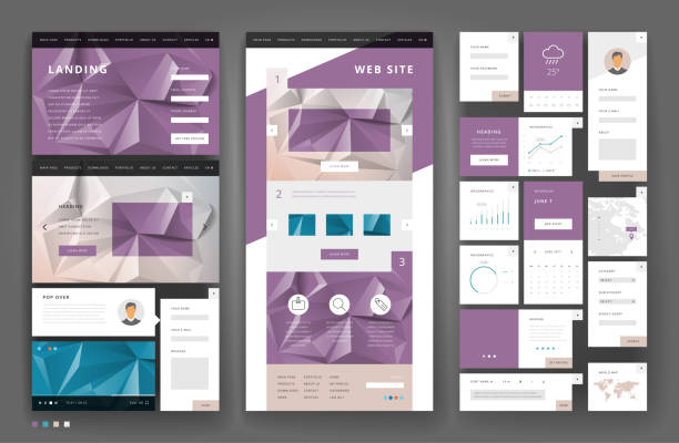 Website template design with interface elements vector art illustration