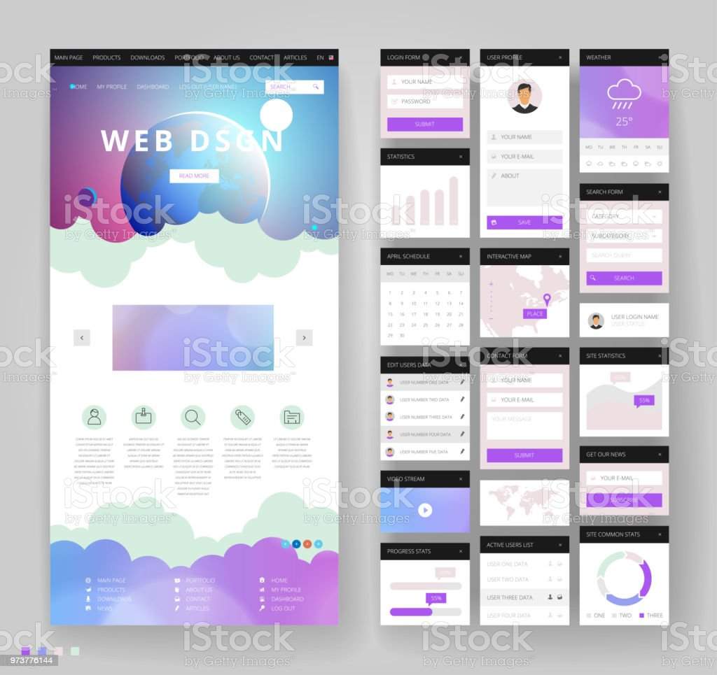 Website Template Design With Interface Elements Stock Illustration -  Download Image Now