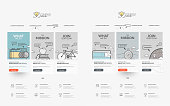 Set of four templates for personal or company business portfolio with concept icons.