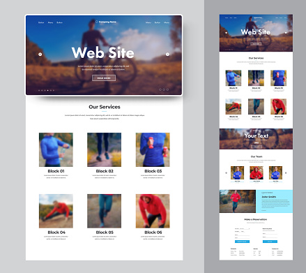 Website template for a sport club or shop with place for photo. Design for gym.