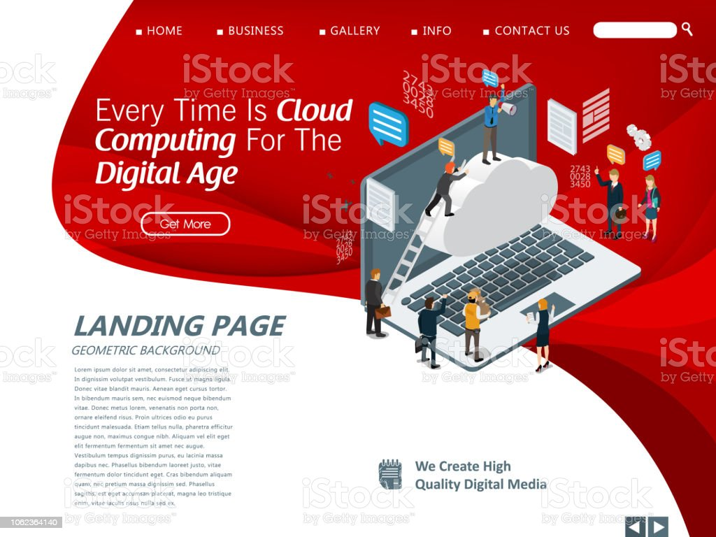 Website Template For Cloud Computing Management Stock Illustration