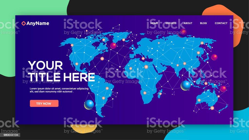 Website template for world communication vector art illustration