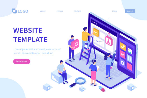 website template People team work together in web industry. Can use for web banner, infographics, hero images.  Flat isometric vector illustration isolated on white background. website design stock illustrations