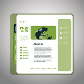 Colorful Modern Styled Website Design Layout, with Header, Banner, Icon and Various User Interface Elements -  Template Illustration for Web Designers in Freely Scalable and Editable Vector Format