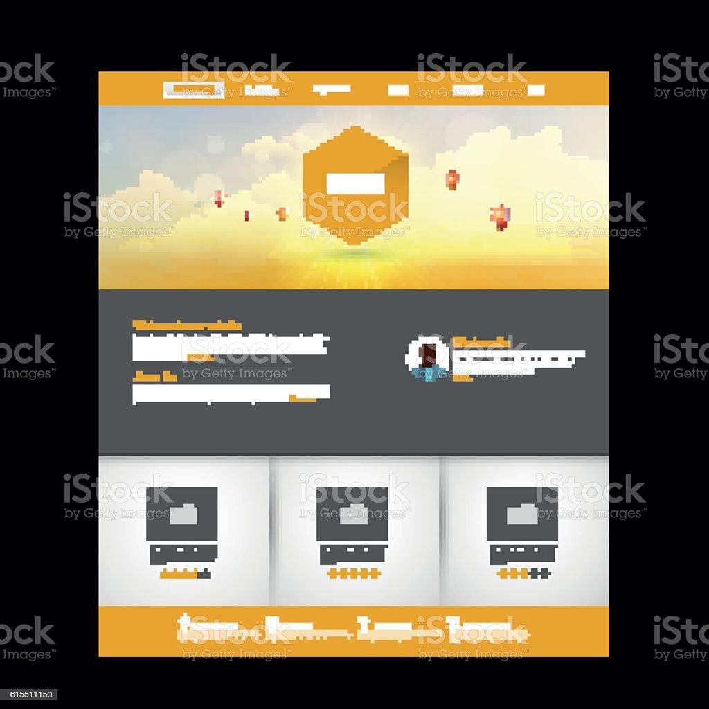 website template vector with sunset header design htmlのベクター
