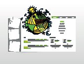 Website Template, with colorful cartoon header illustration. Vector Layout.