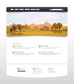 Website Template with flat autumn landscape. Professional Vector Design.