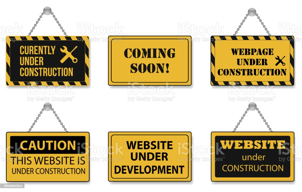 Website Under Construction Sign Icons vector art illustration