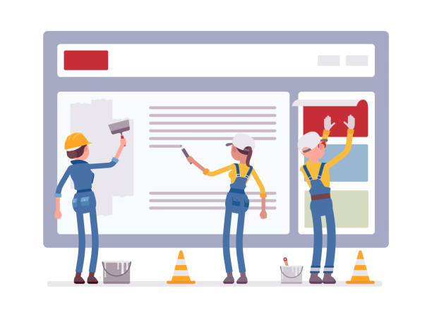 illustrations, cliparts, dessins animés et icônes de site web en cours de construction  - chantier