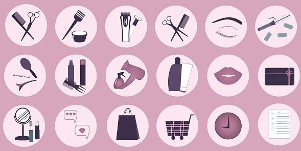 Website. Vector round icons for social networks with hairdressing tools, gift card, package and shopping cart. Social media elements for design.