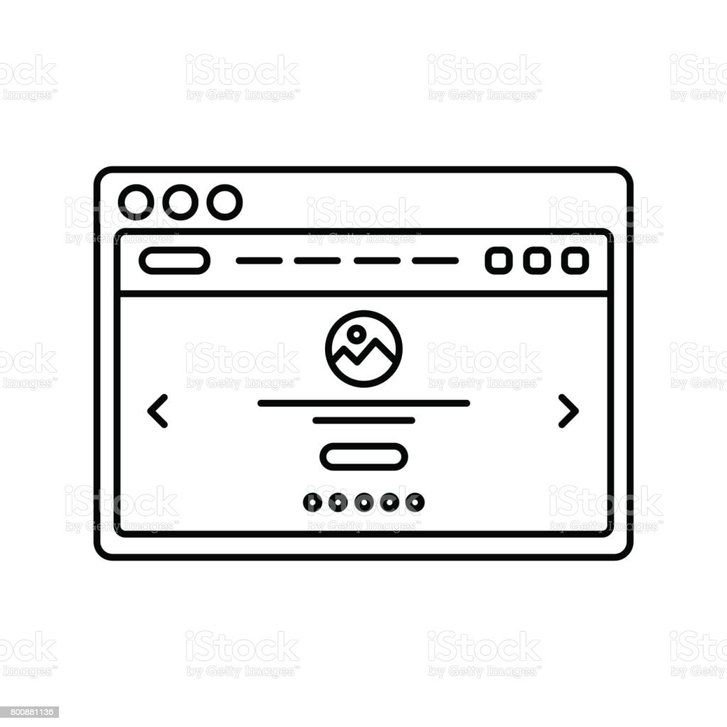 Website Wireframe In Window Lined Icon Landing Page Line Icon Web ...