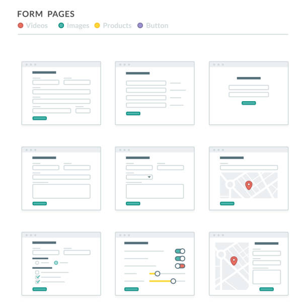 Website Wireframe Layouts UI Kits for Site map and Ux Design Website Wireframe Layouts UI Kits for Site map and Ux Design website wireframe stock illustrations