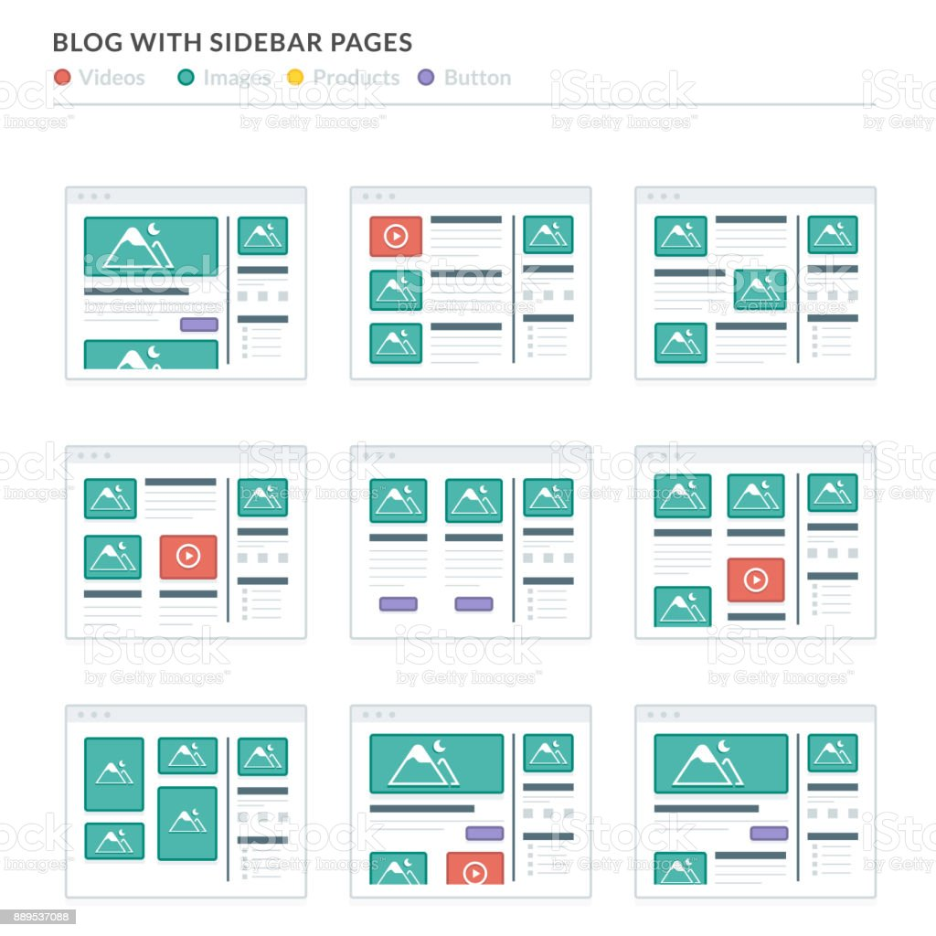 Website Wireframe Layouts Ui Kits For Site Map And Ux Design Stock ...