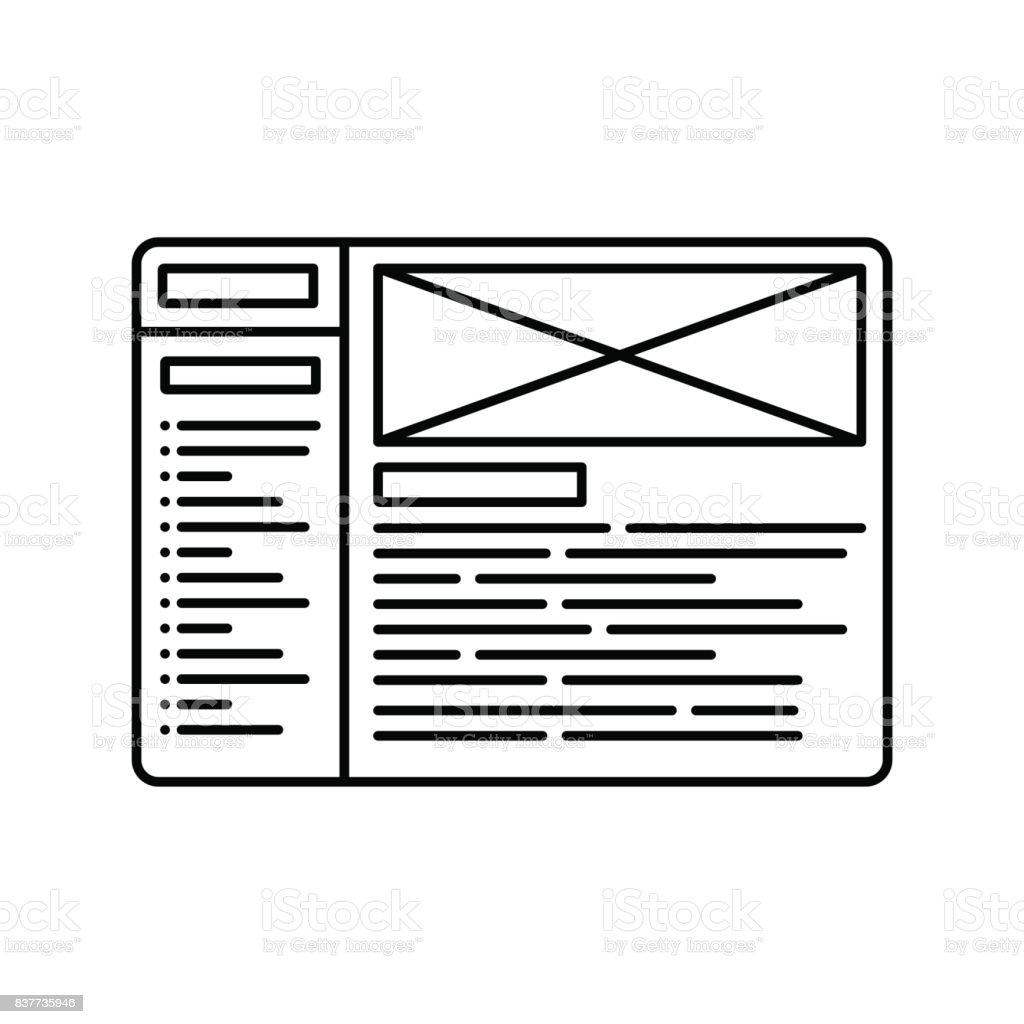 Website Wireframe Line Icon Outline Illustration For Website Or Logo ...