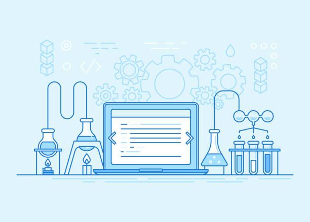 ilustraciones, imágenes clip art, dibujos animados e iconos de stock de concepto de negocio de desarrollo web y app - laboratory