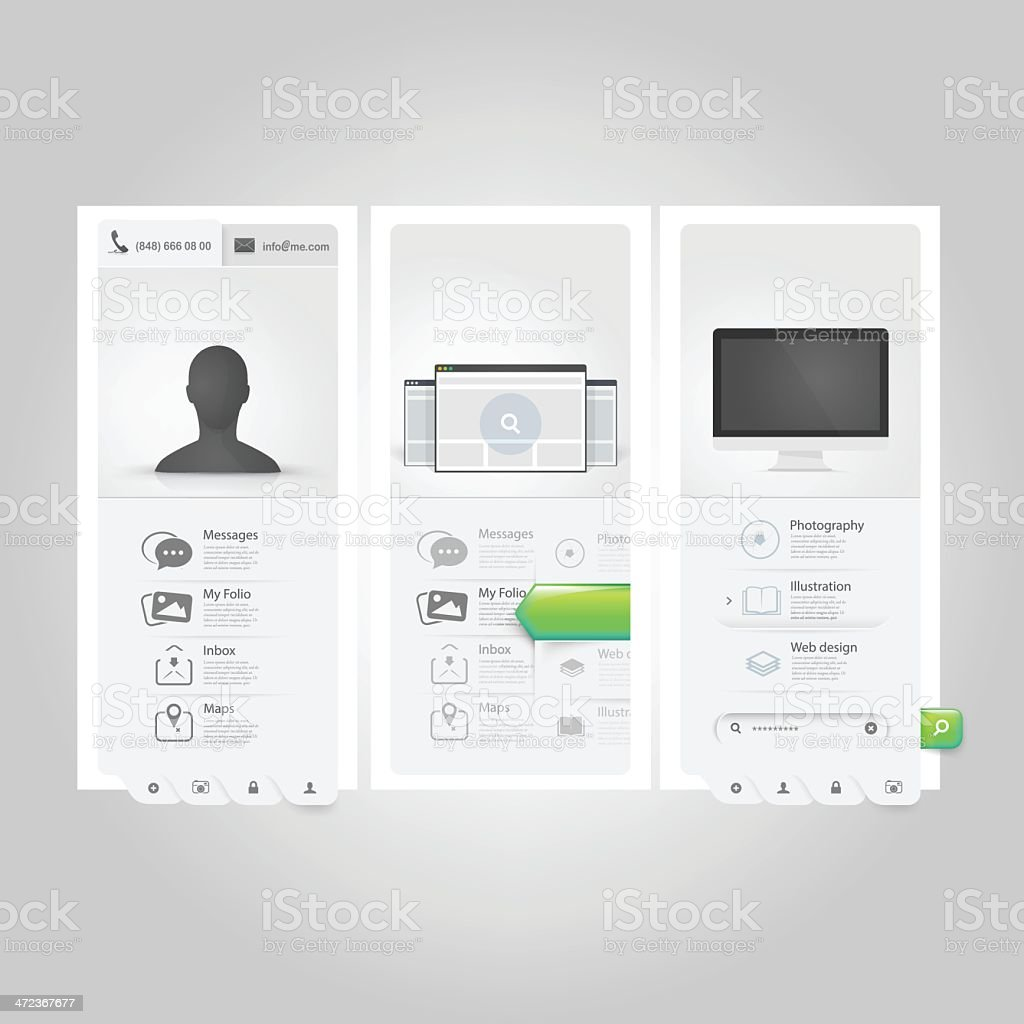 Webste Vorlage Uielemente Persönliche Visitenkarte Portfolio Mit ...