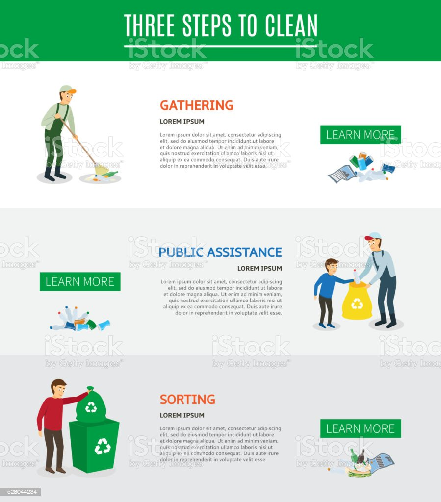 Wed Banners On The Theme Of Collecting Waste Stock Vector Art & More ...