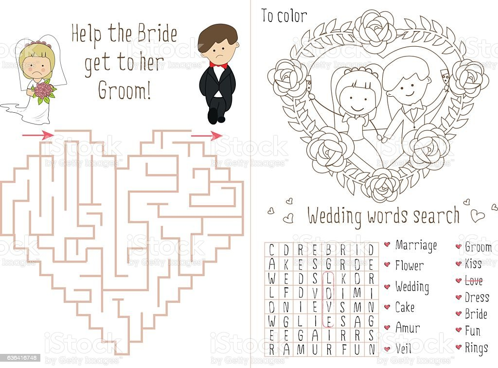 - Wedding Activity Book For Kids The Maze Heart Stock Illustration - Download  Image Now - IStock